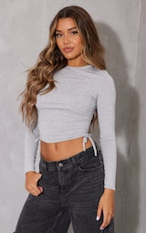 Grey Jersey Ruched Side Long Sleeve Crop Top 1