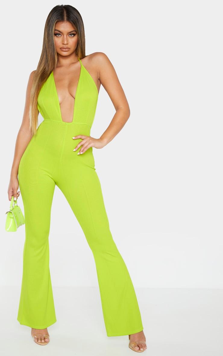 Neon Lime Bandage Plunge Flared Leg Jumpsuit 3