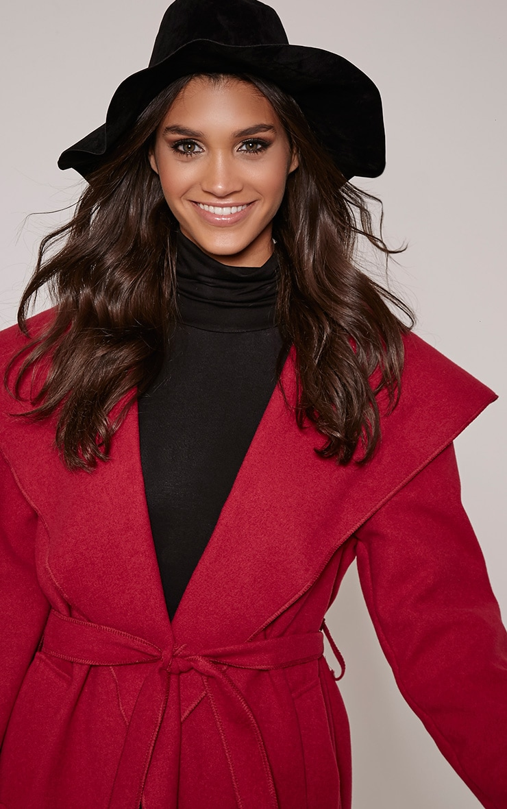 Mable Black Faux Suede Turquoise Stone Fedora Hat 2