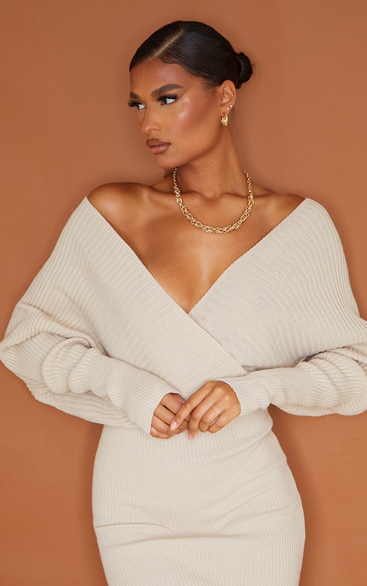 Stone Wrap Off The Shoulder Midi Dress 5