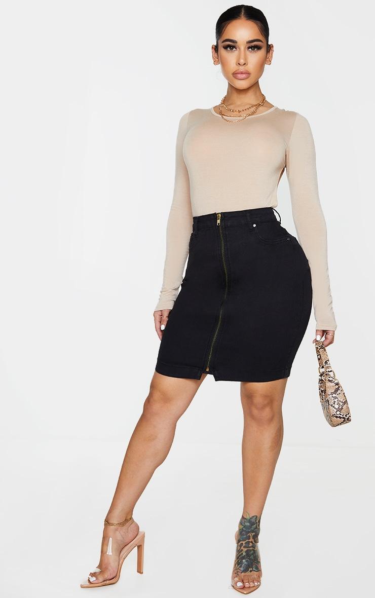 Shape Black Zip Detail Denim Bodycon Skirt 1