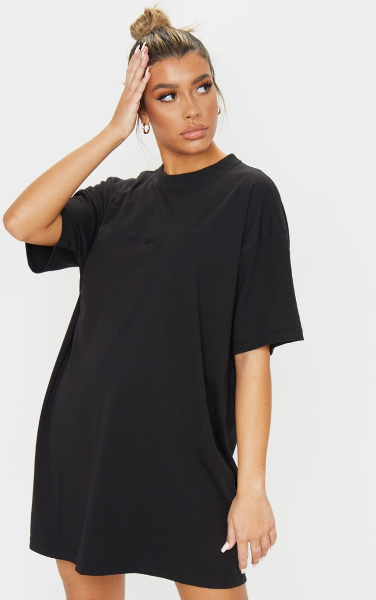 Black Self Made Slogan Boyfriend T Shirt Dress 1