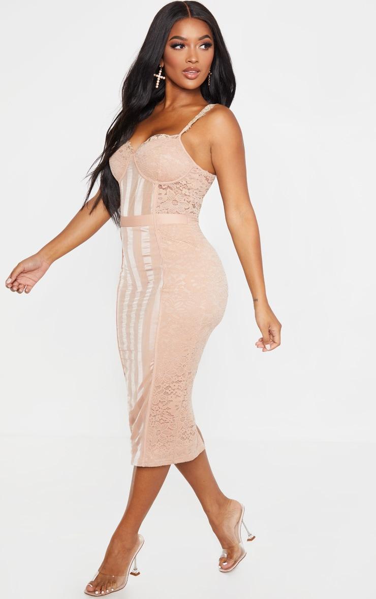 Shape Stone Lace Mesh Stripe Midi Dress 4