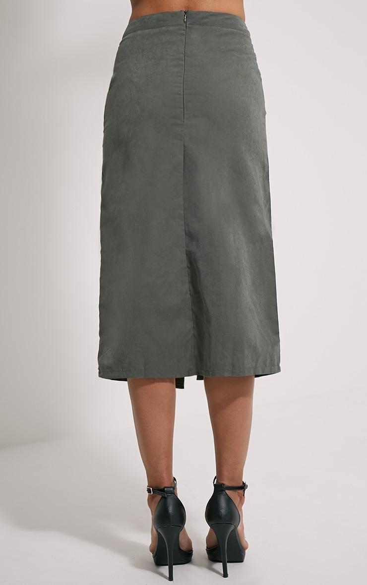 Mardy Khaki Wrap Midi Skirt 4