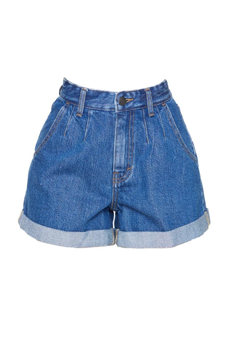 Petite Mid Blue Turn Up Hem Mom Shorts 6