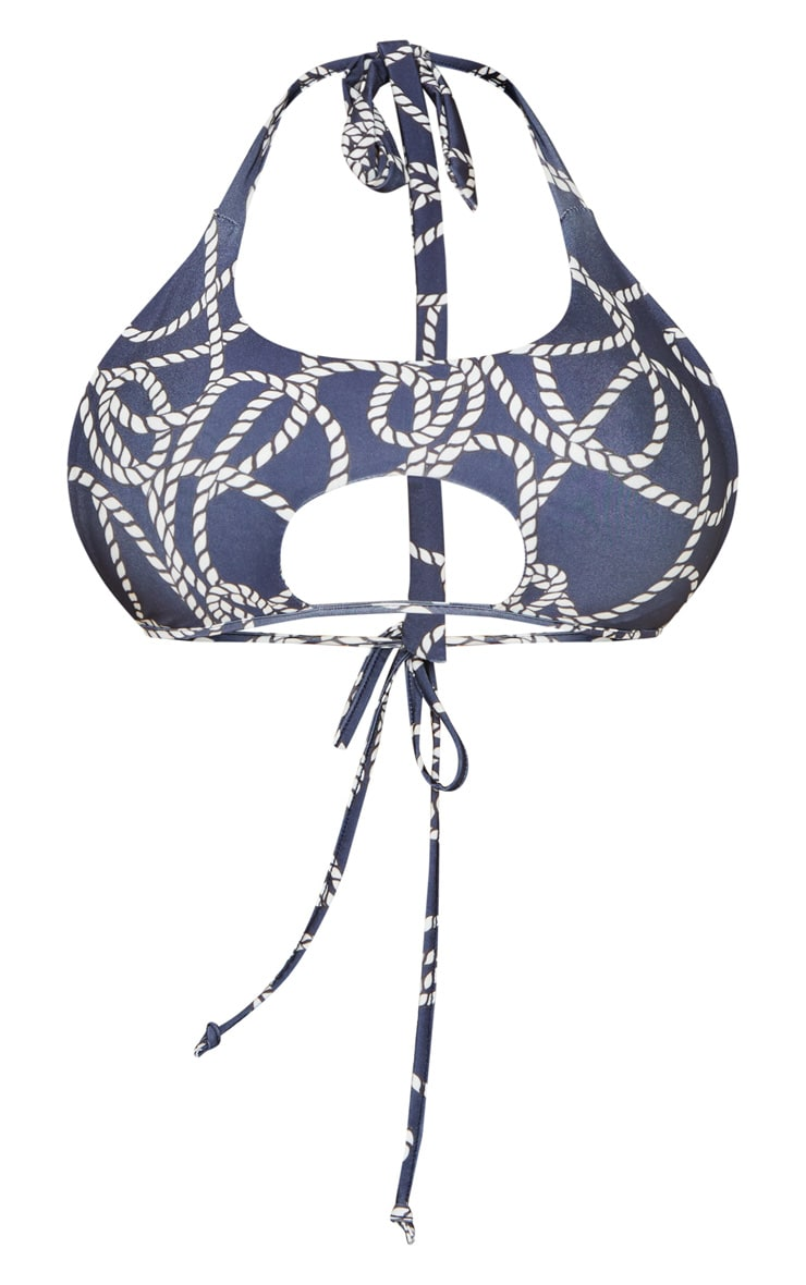 Navy Rope Print Cut Out Tie Bikini Top 3