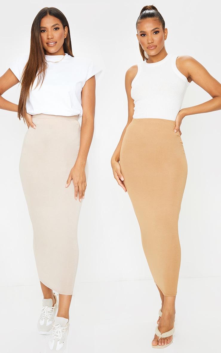 Stone & Camel Basic Jersey Midaxi Skirt 2 Pack 1