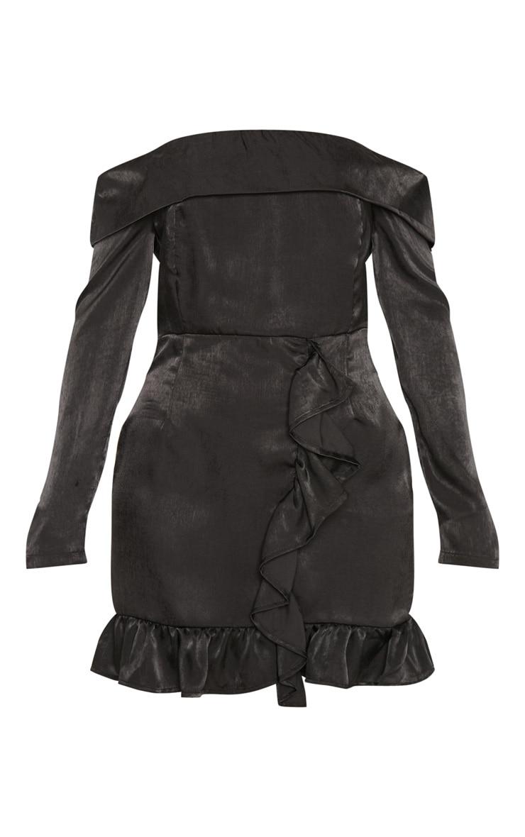 Black Satin Bardot Frill Bodycon Dress 3