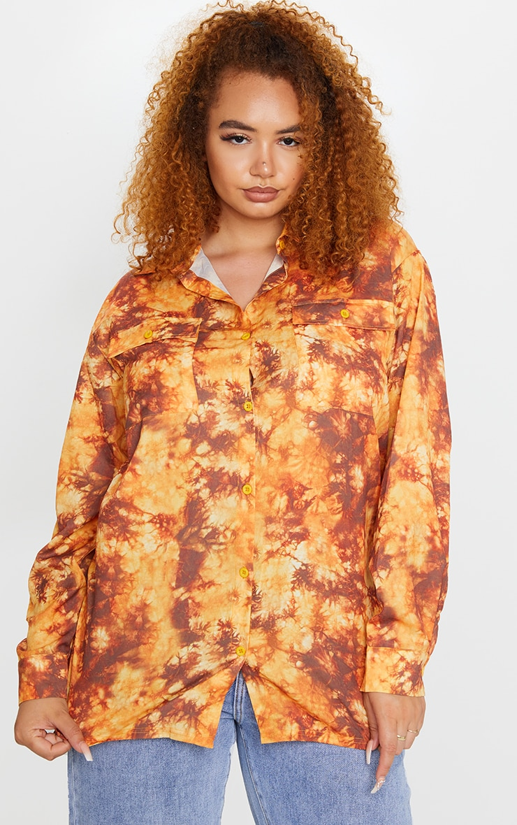 Plus Rust Tie Dye Oversized Shirt 1