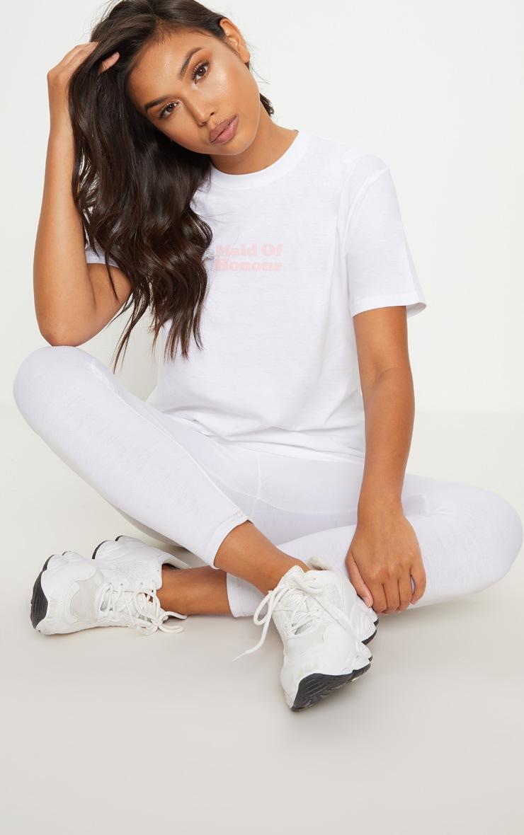 White Maid Of Honour Slogan T Shirt 4