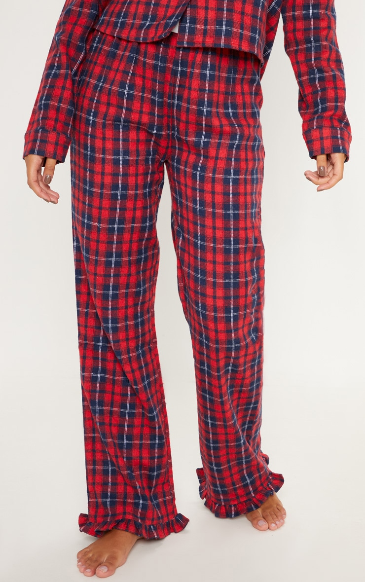 PRETTYLITTLETHING Red Check Frill Hem PJ Bottom 2