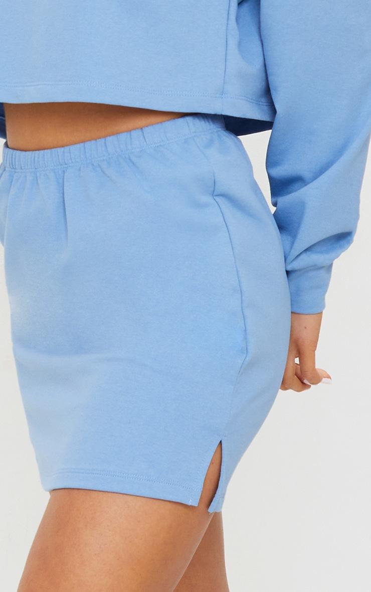 Petite Blue Split Hem Sweat Mini Skirt 5