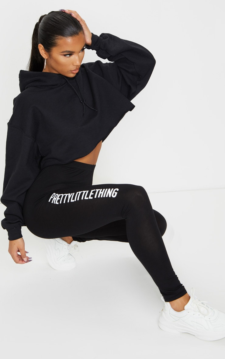PRETTYLITTLETHING - Legging noir à slogan 1