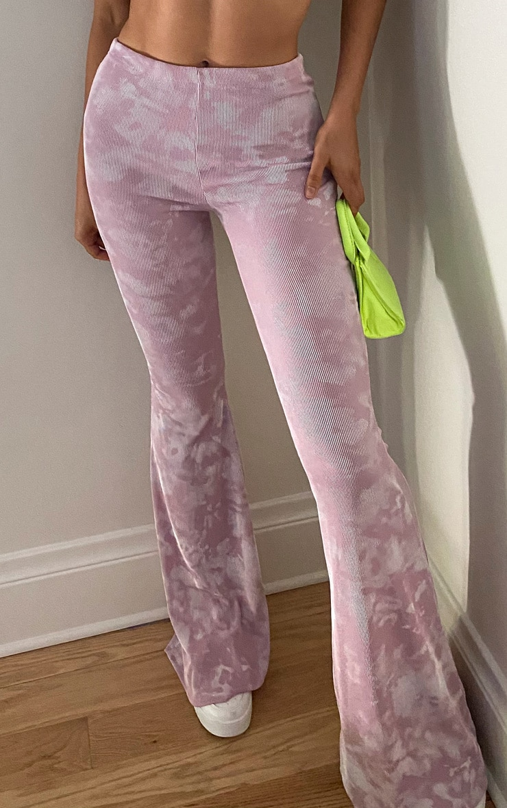 Tall Lilac Tie Dye Ribbed Flared Pants 2