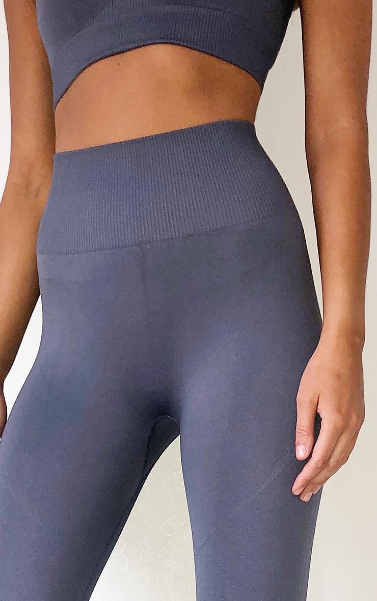 Grey High Waist Seamless Gym Leggings 4
