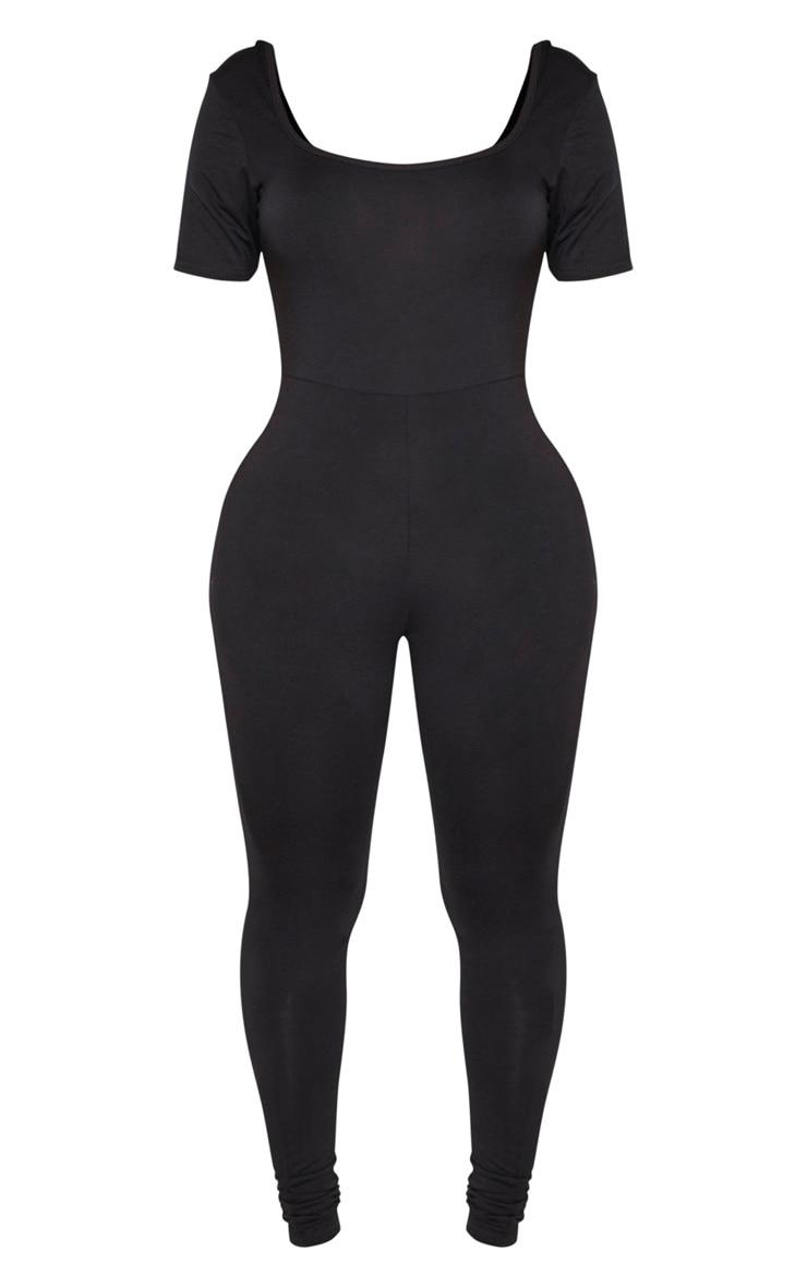 Shape Black Jersey Cap Sleeve Jumpsuit 6