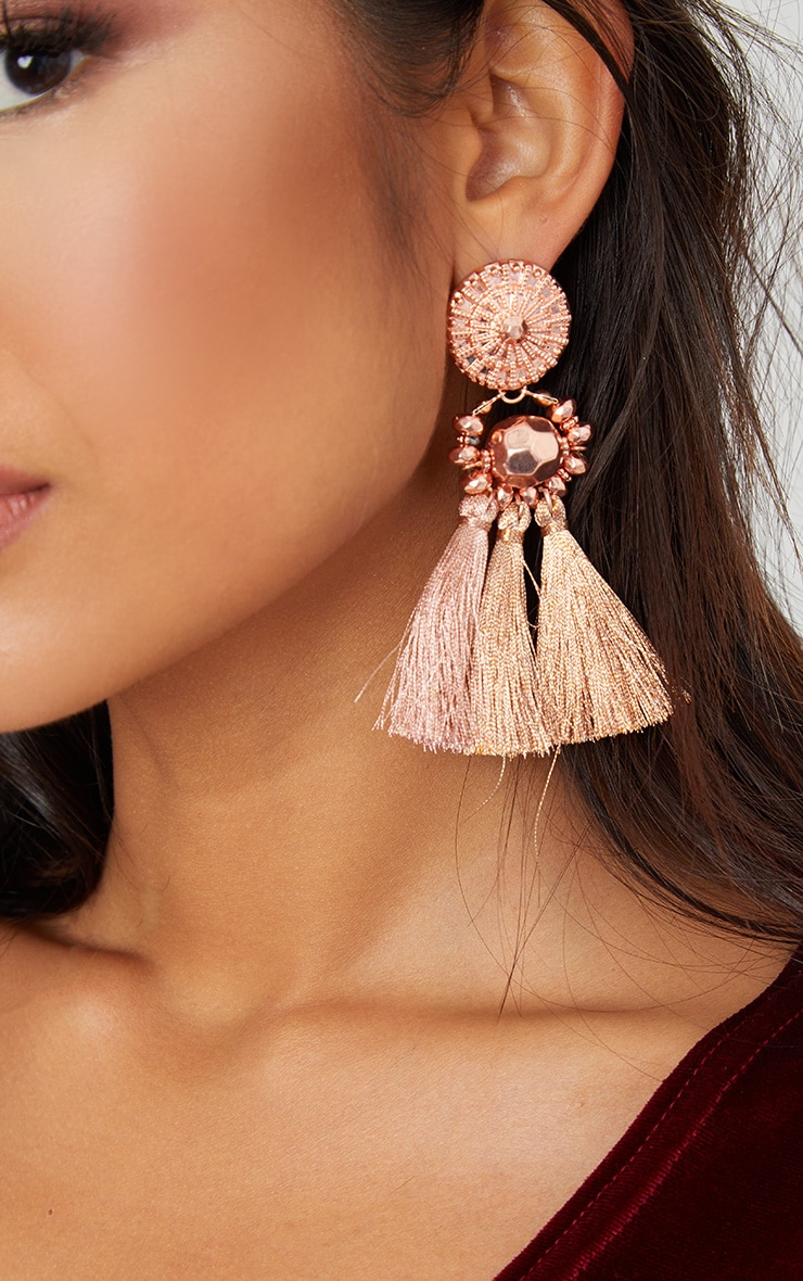Rose Gold Acrylic Bead Tassel Earring 3
