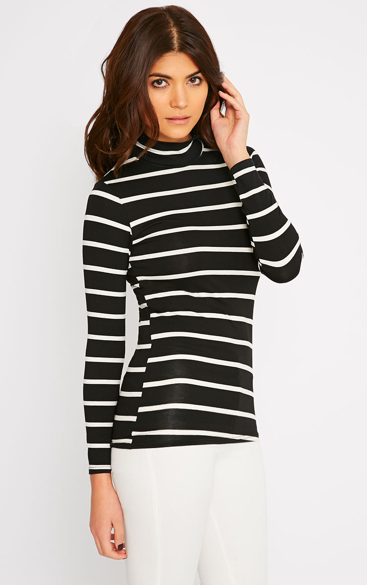Dani Black Stripe Turtle Neck Top 1
