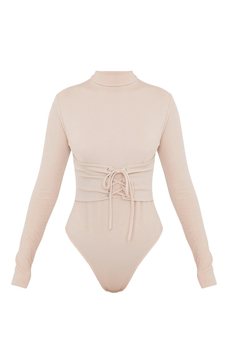 Stassi Nude Corset Detail Longsleeve Thong Bodysuit 3