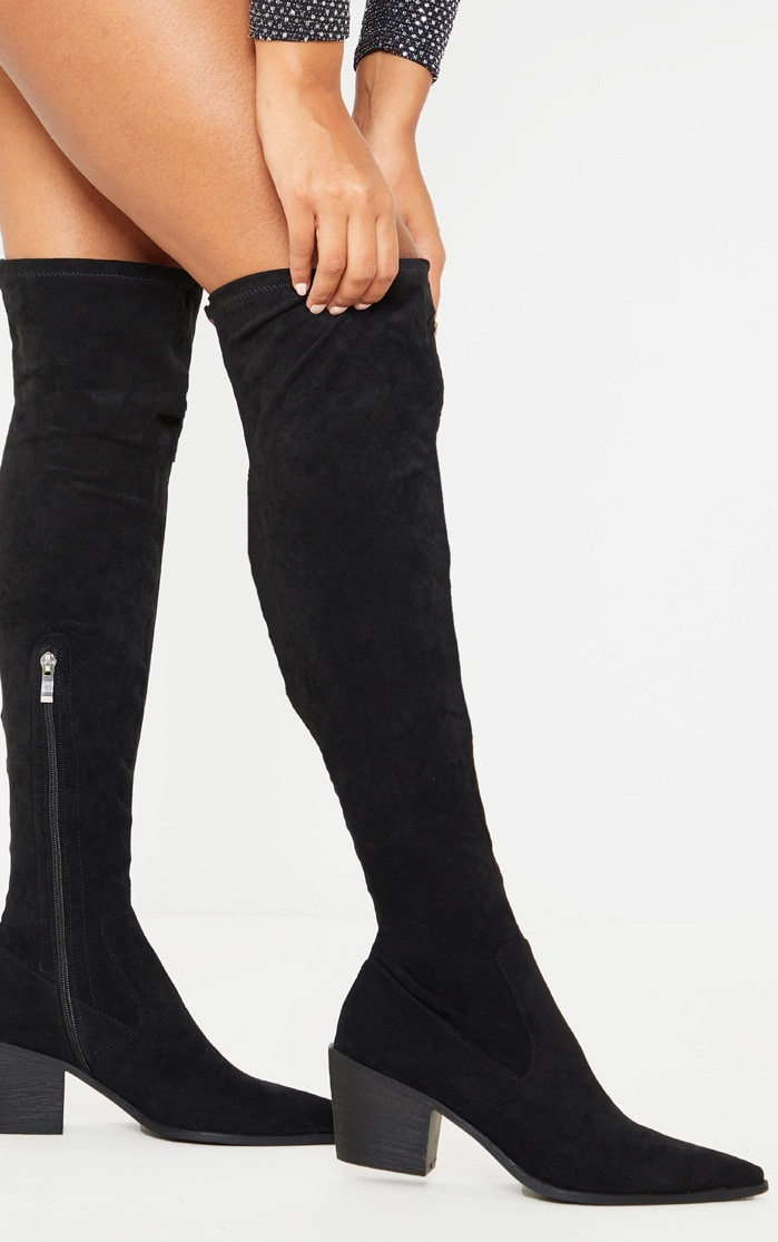 Black Thigh High Western Sock Boot 1