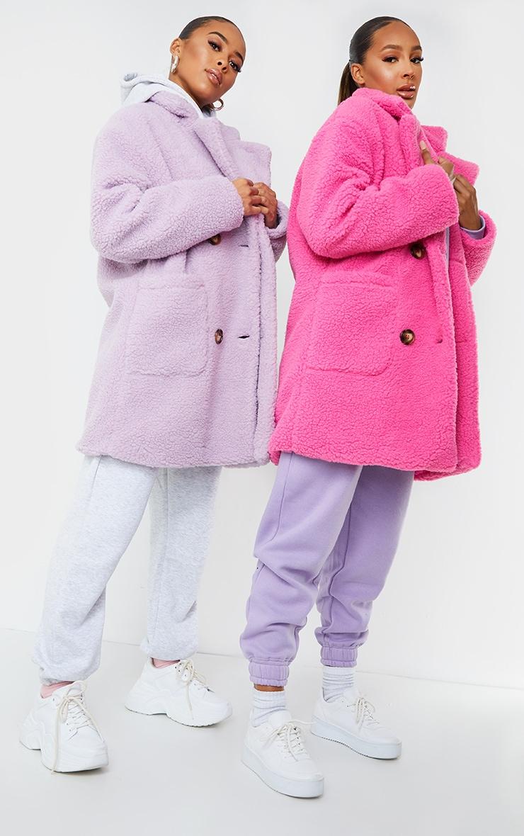Manteau mi-long en imitation peau de mouton rose vif, Rose flash