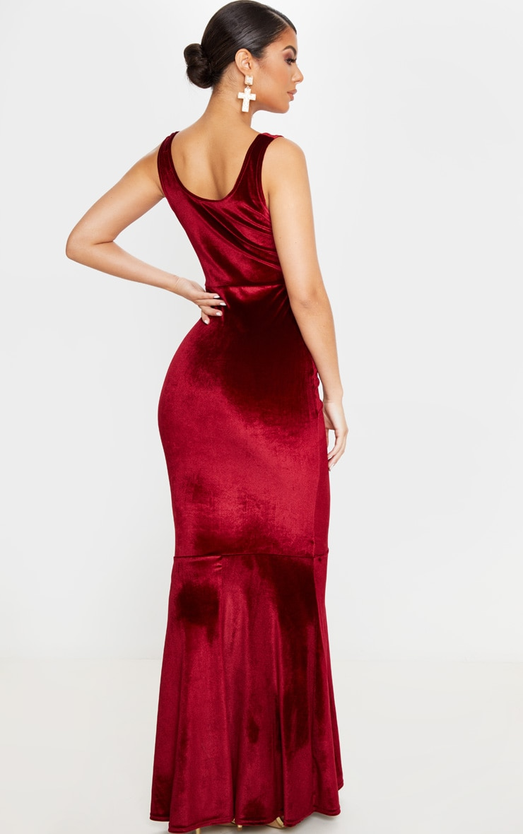 Burgundy Velvet Square Neck Fishtail Maxi Dress 2