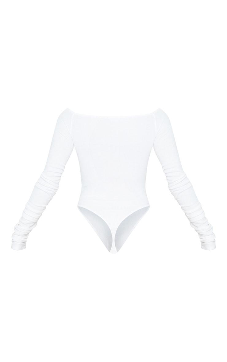 White Bardot Zip Ruched Sleeve Bodysuit 2