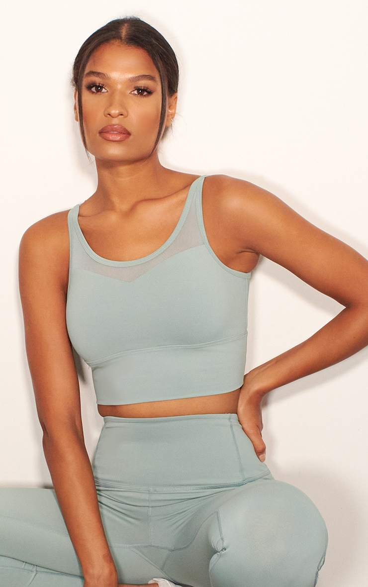 Sage Green Mesh Cross Back Long Padded Luxe Sports Bra 4