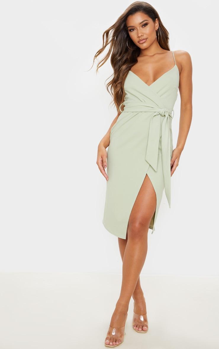 Sage Green Strappy Wrap Tie Waist Midi Dress