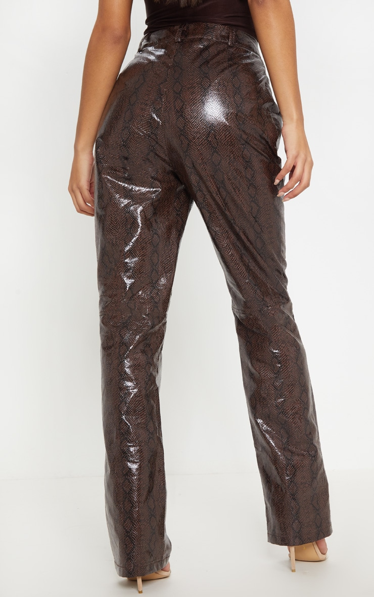 Brown Faux Leather Snakeskin Straight Leg Pants 4