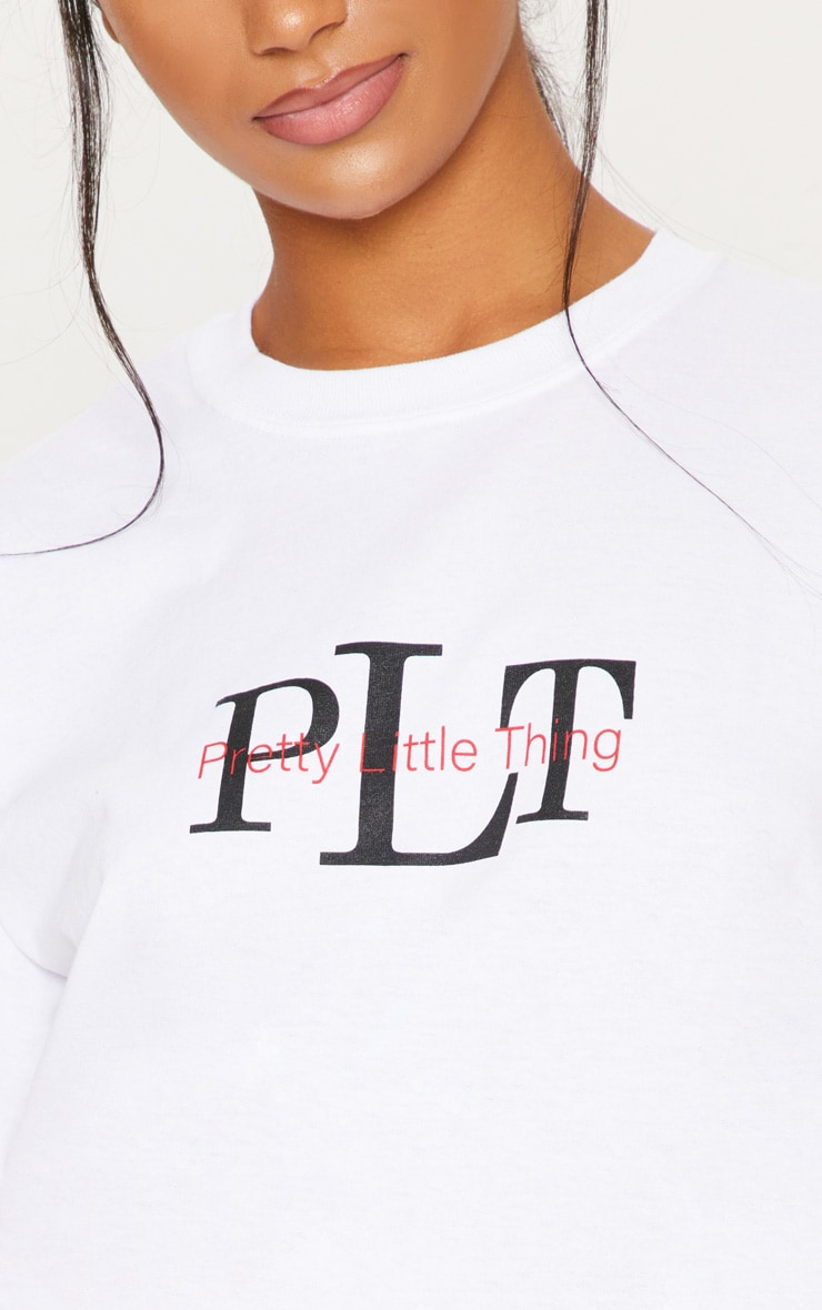 PRETTYLITTLETHING White Oversized Slogan T Shirt 5