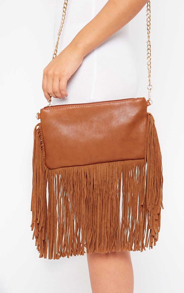 Catrine Tan Fringe Trim Bag 1