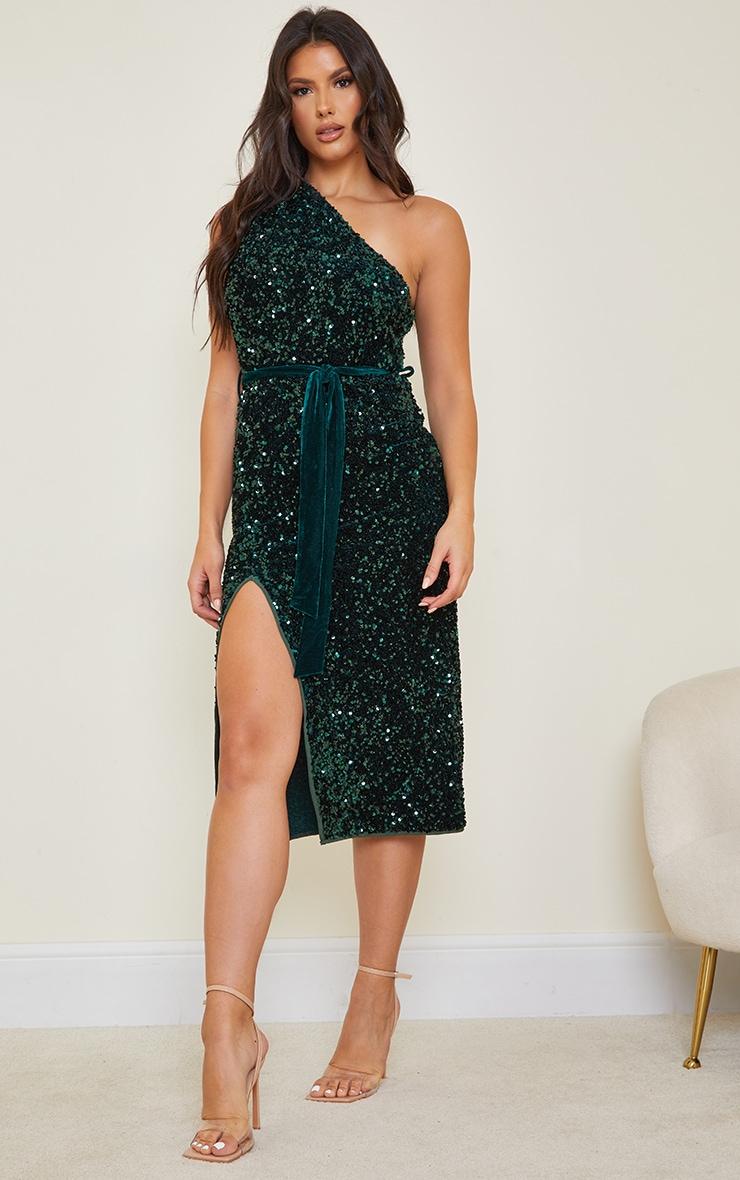 Tall Emerald Green Premium Velvet Sequin One Shoulder Tie Waist Midaxi Dress 1