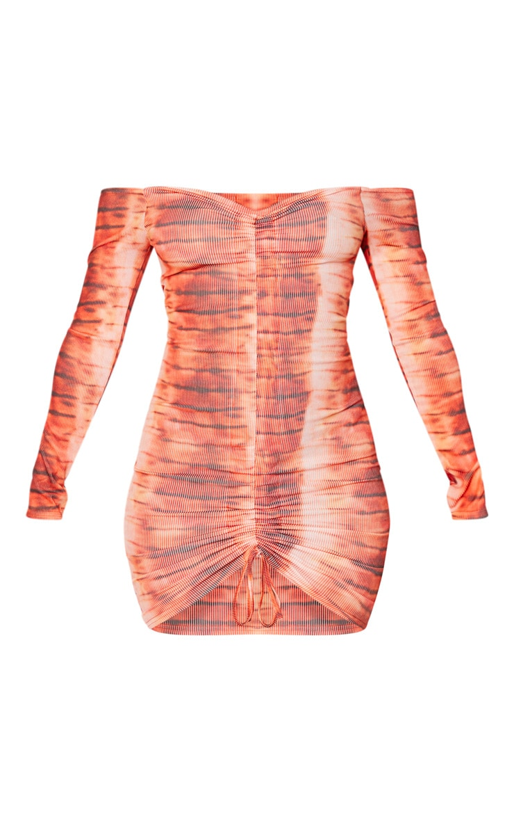 Orange Tie Dye Ribbed Long Sleeve Bardot Ruched Bodycon Dress 5