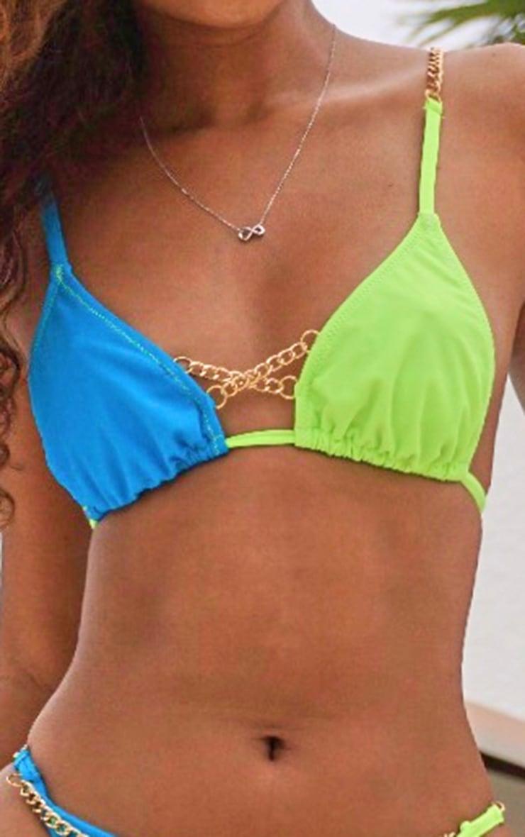 Blue Contrast Chain Ruched Bikini Top 2