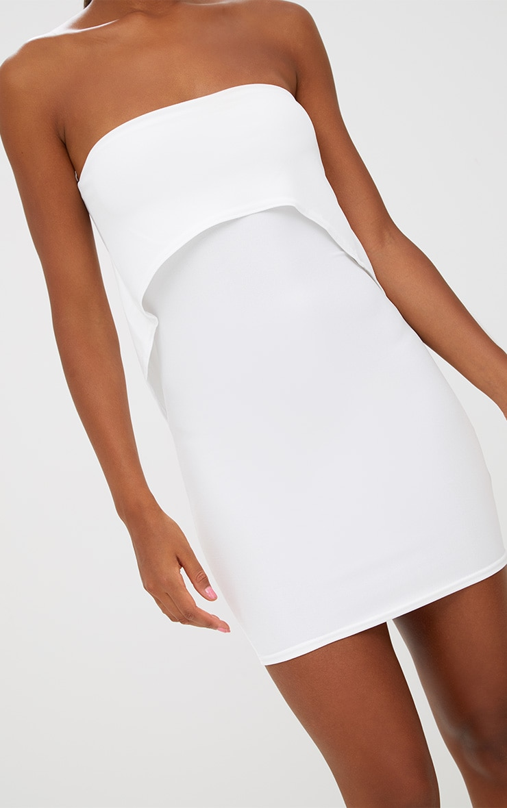 White Bandeau Overlay Bodycon Dress 4