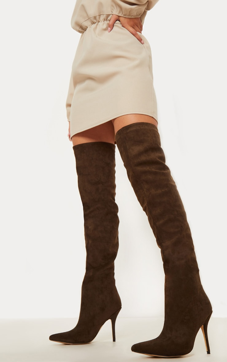 Dark Khaki Over The Knee Mid Heel Boot