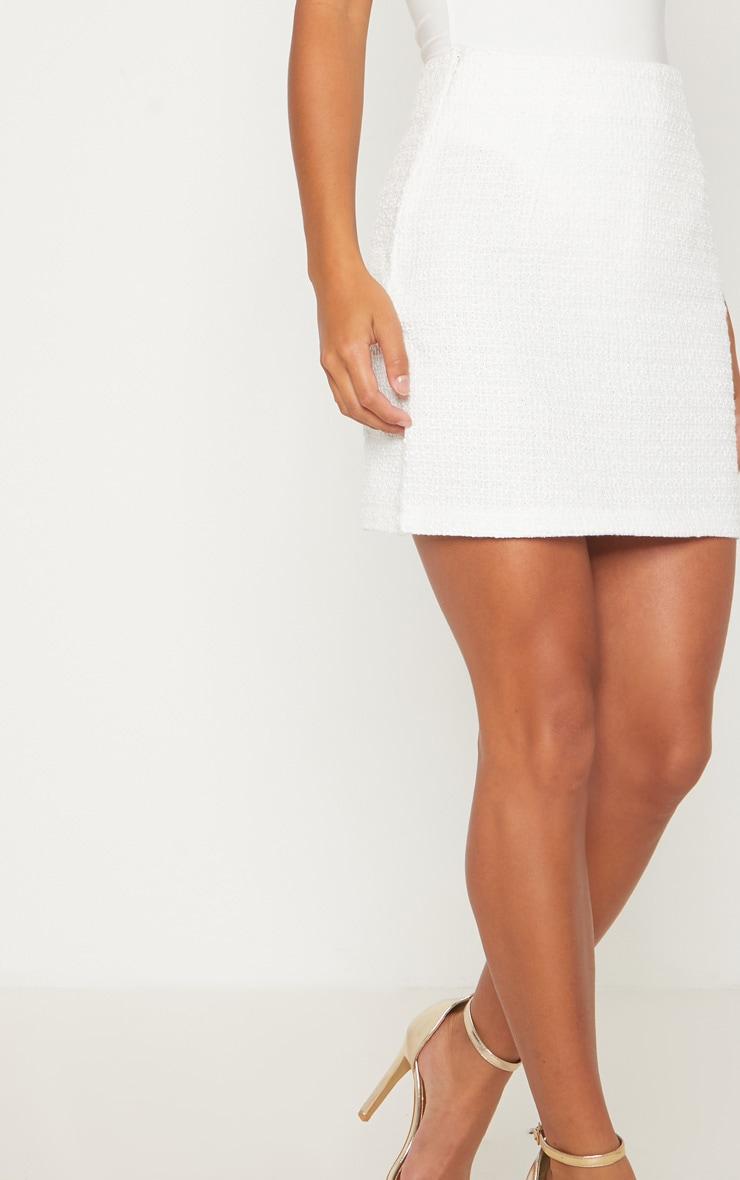 Petite White Boucle Mini Skirt 6