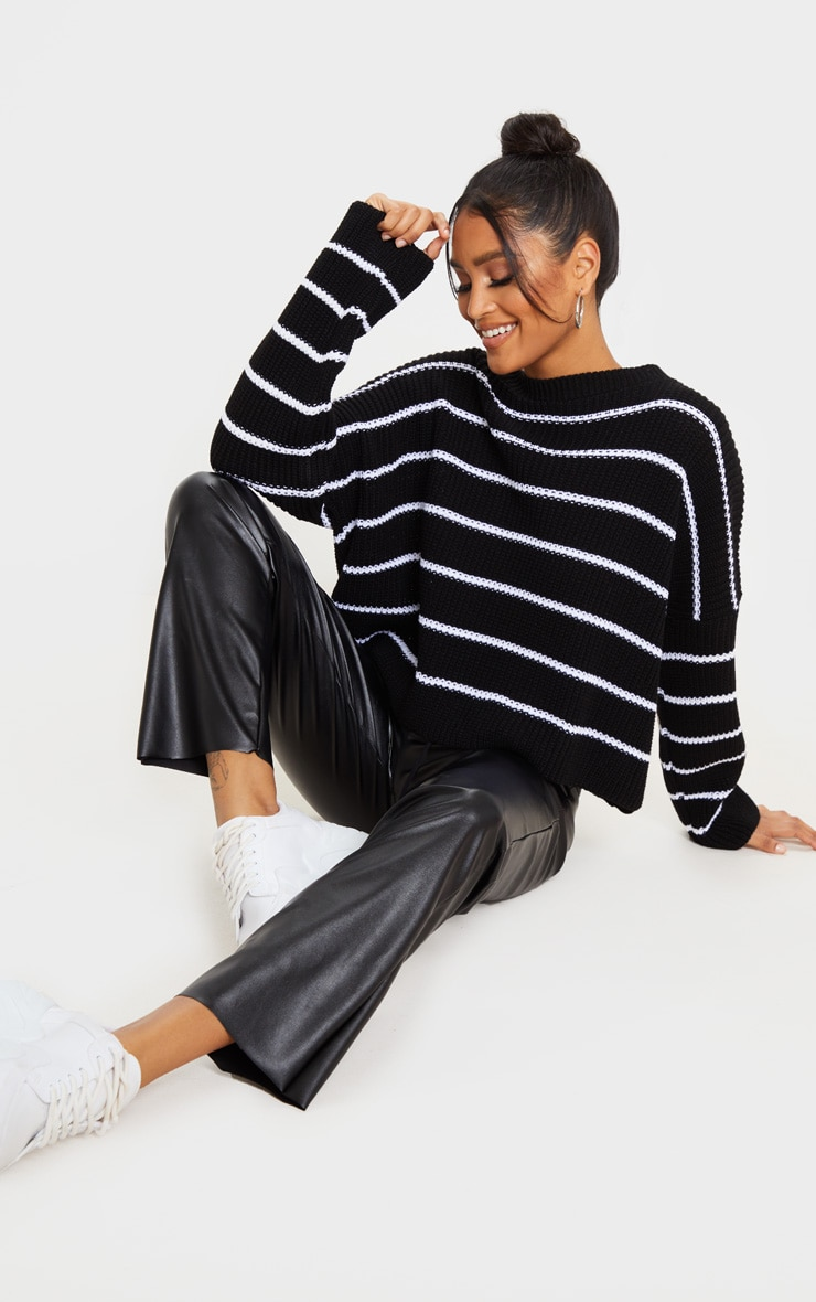 Black  Narrow Stripe Knitted Sweater 4