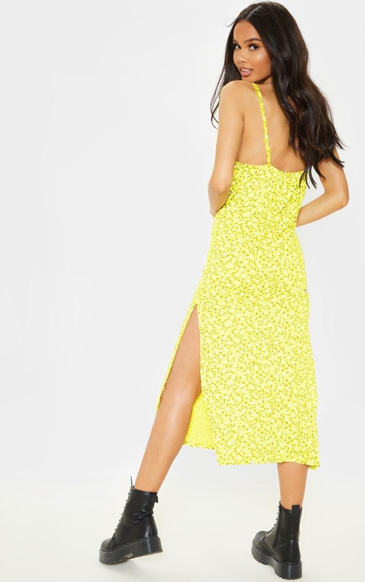 Yellow Ditsy Floral Jersey Split Midi Dress 2