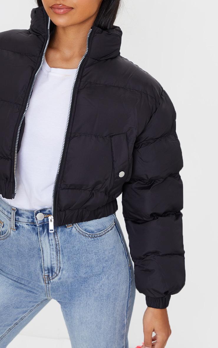 Black Cropped Elastic Hem Bubble Puffer Jacket 4
