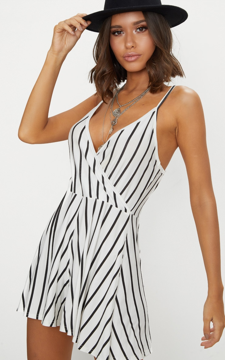 White Stripe Strappy Wrap Playsuit