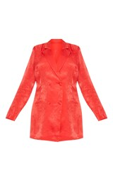 d8cff1b581e Plus Red Satin Shoulder Pad Blazer Dress image 3