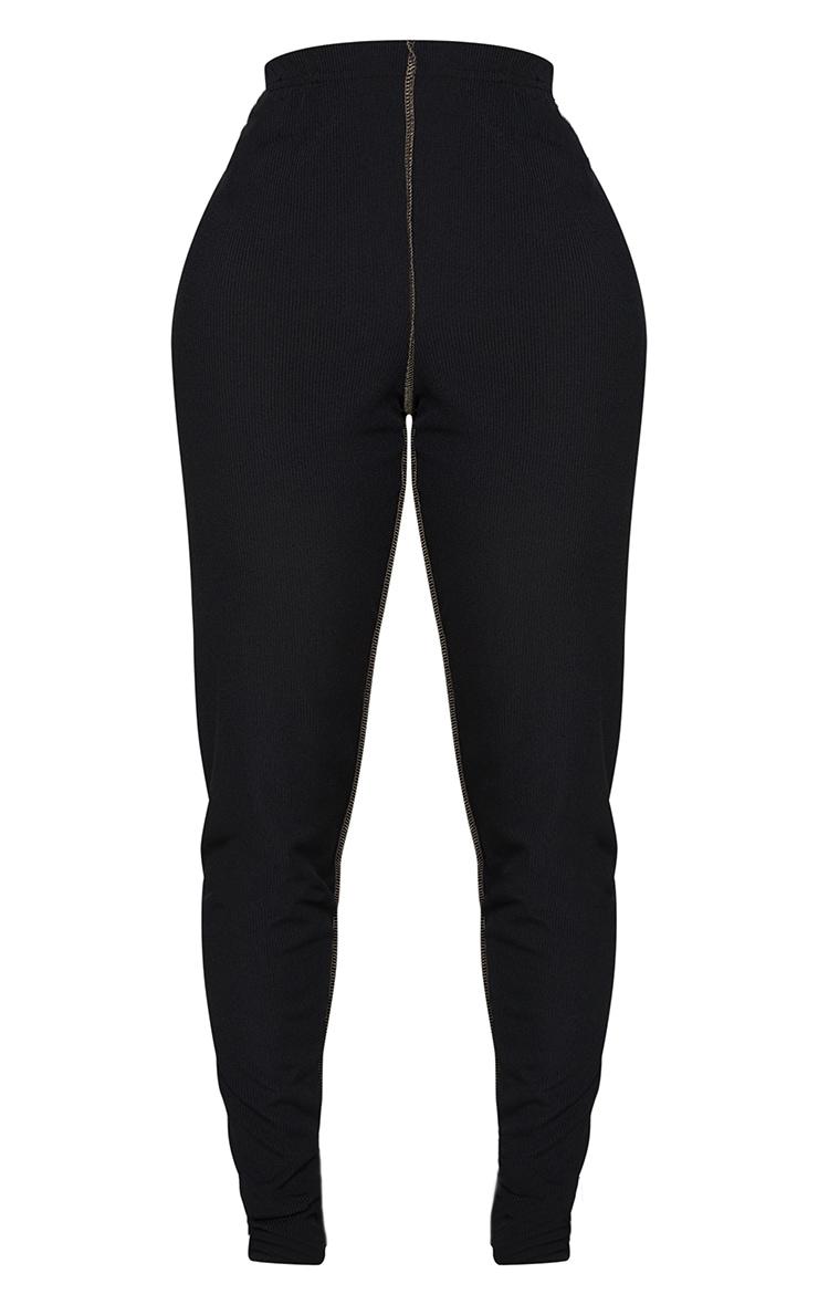 Shape Black Rib Overlock Seam Detail Leggings 5