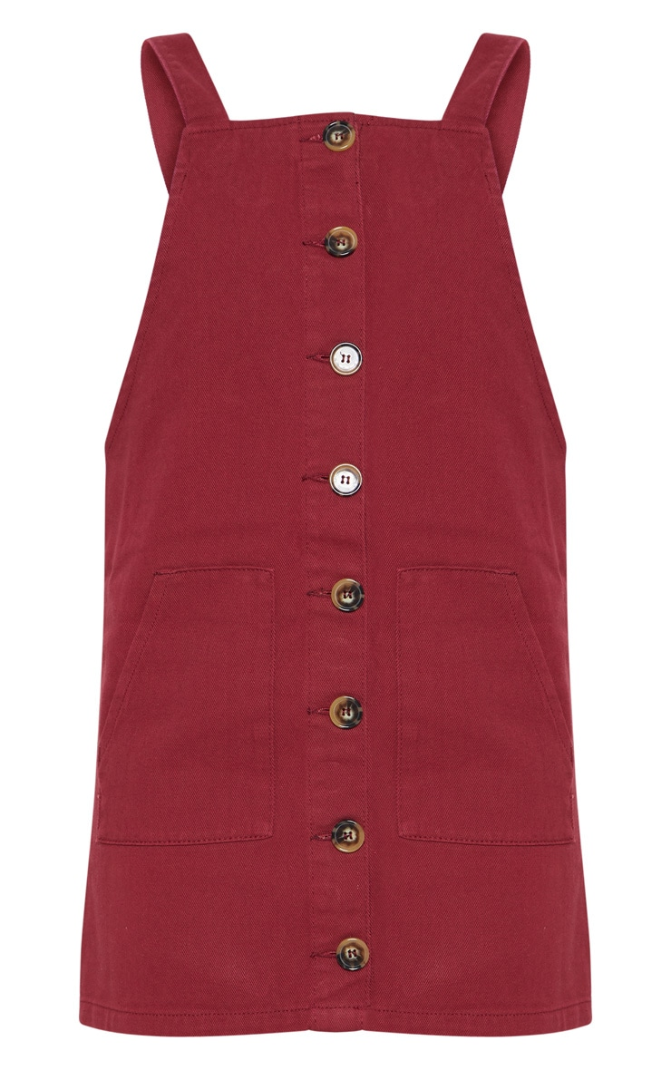 Burgundy Button Through Denim Dress 3