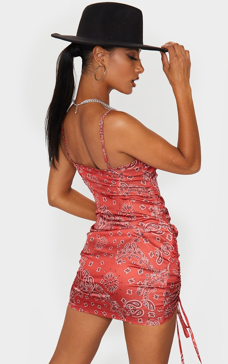 Red Bandana Print Satin Double Ruched Front Bodycon Dress 2