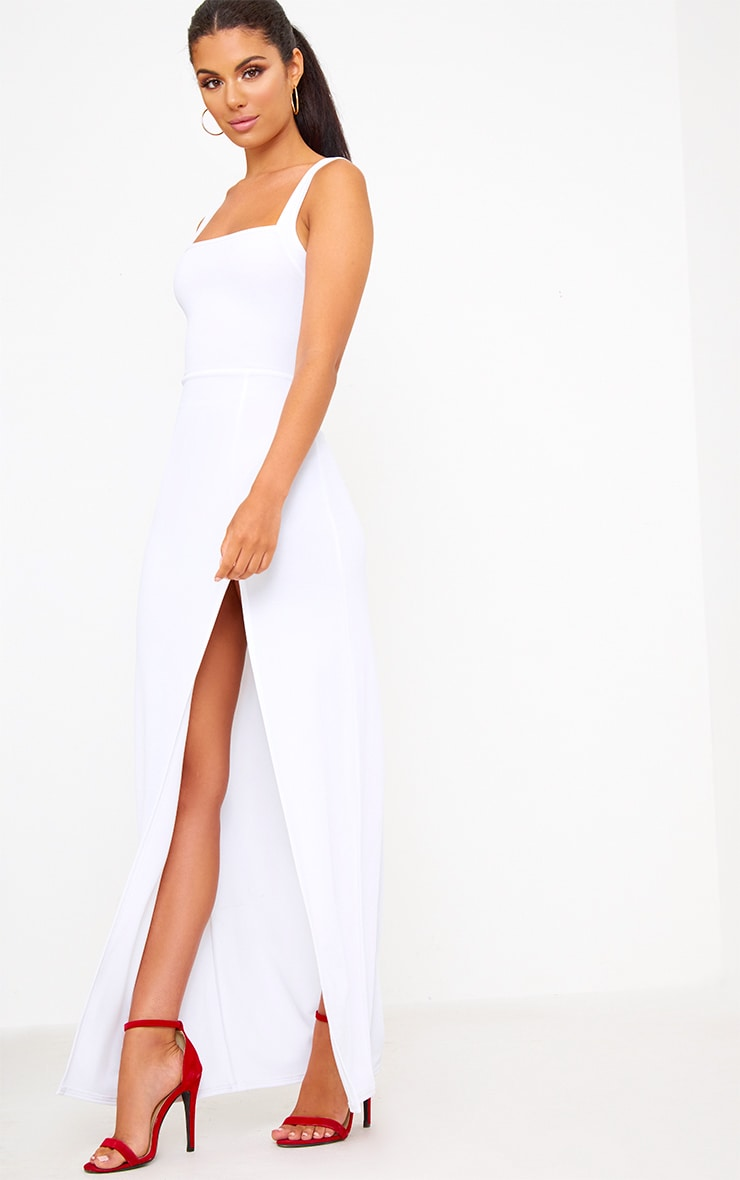 White Straight Neck Maxi Dress 3