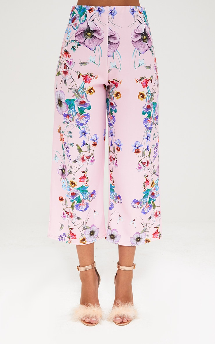 Light Pink Floral Placement Print Culottes 2