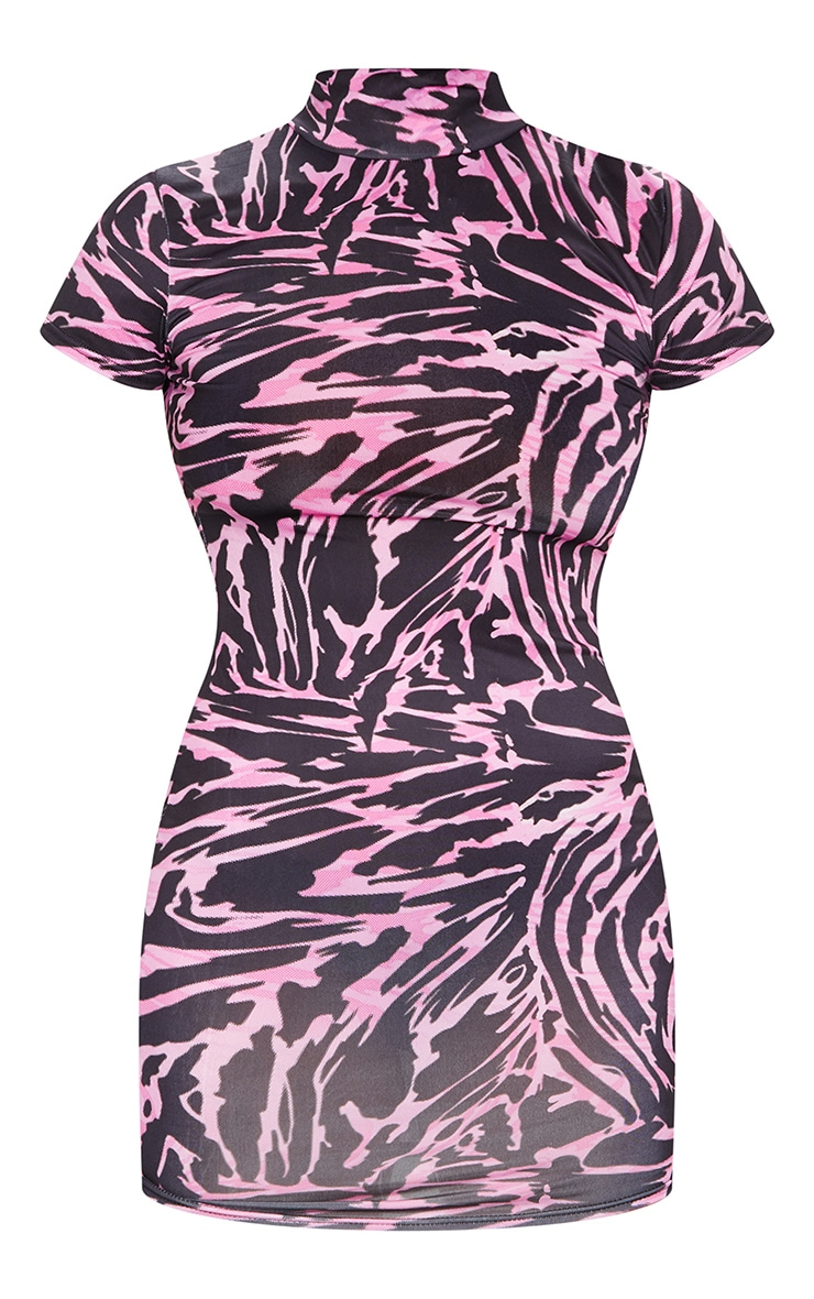 Pink Abstract Print High Neck Bodycon Dress 5