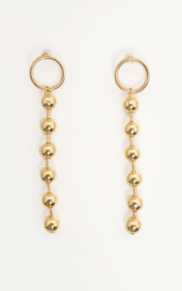 Gold Ball Chain Drop Earrings 2